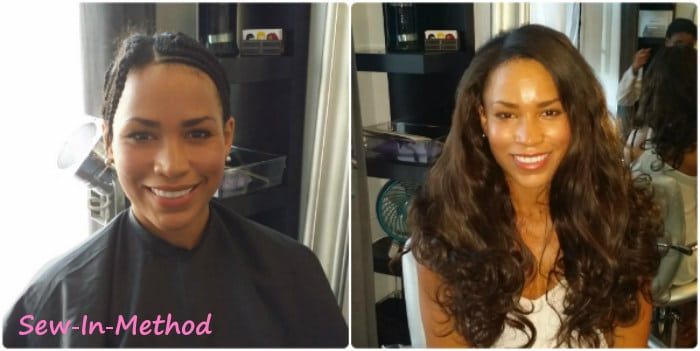 Woman with sew in hair extensions in Chicago, IL.
