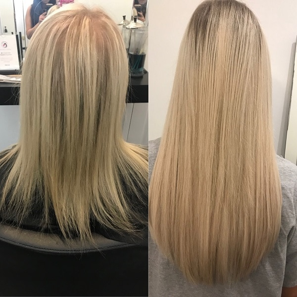 Hair extensions at salon in Chicago with before and after photo.